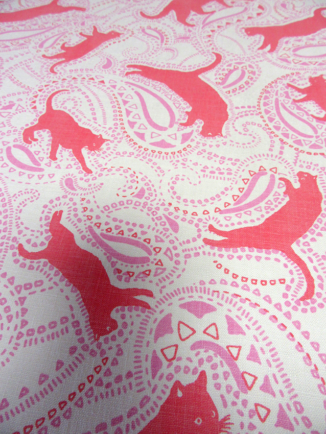 cat pattern fabric in paisley style