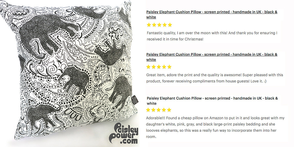 Excellent customer reviews of elephant paisley cushion
