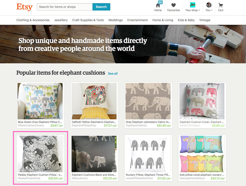 Etsy's list of popular items featuring Paisley Power's elephant cushion