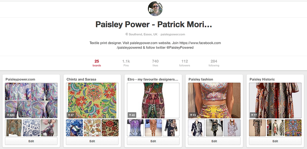 pinterest board of Paisley Power - patrick moriarty