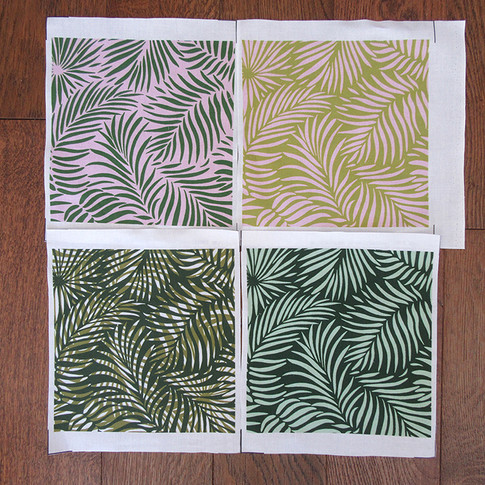 Test swatches on cotton of the Palm Leaf design