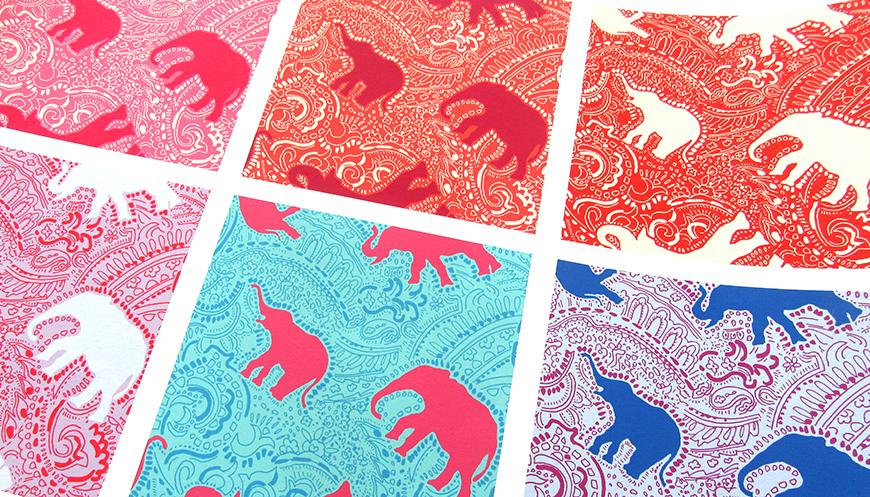 elephant paisley design colour schemes