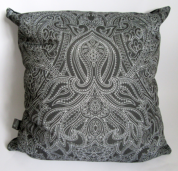black-white-cushion-pillow-with-William-Morris-style-pattern-designed-by-Paisley-Power
