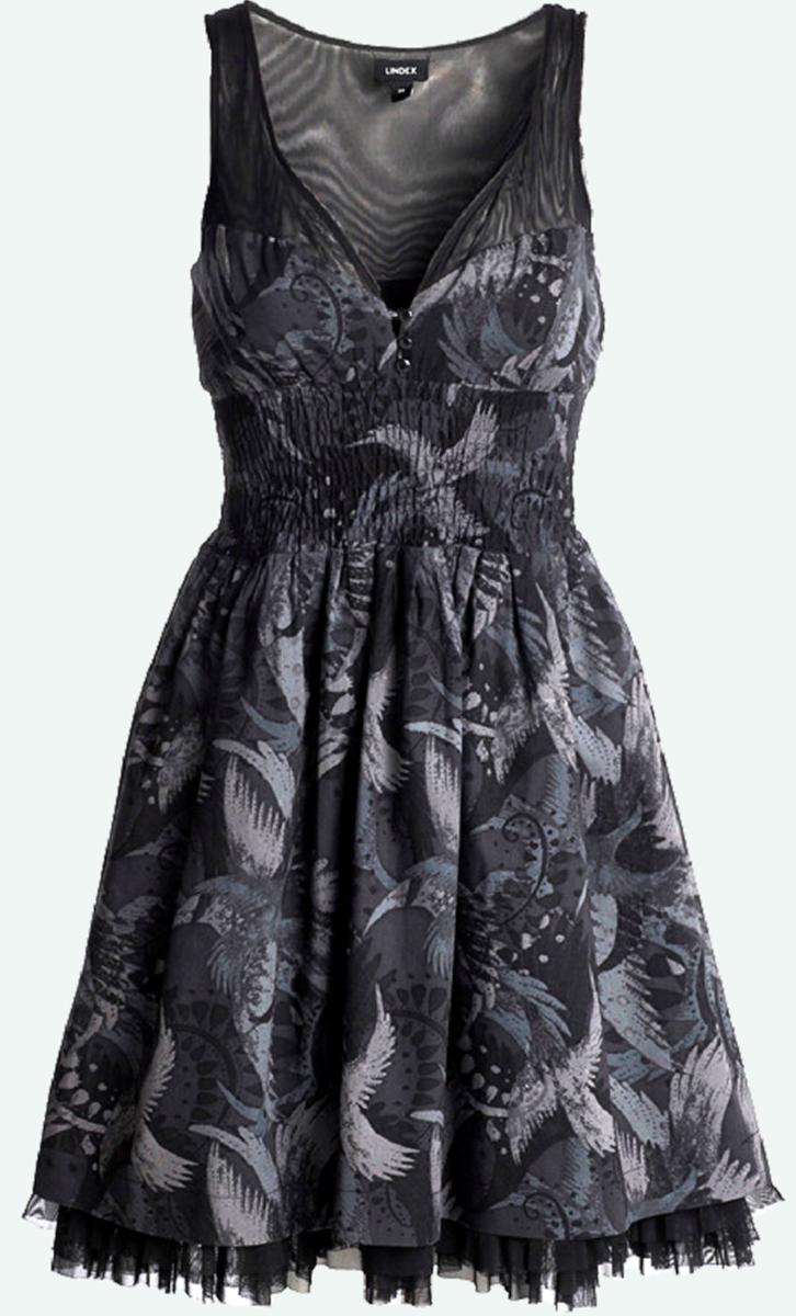 black-dress-with-painted-bird-design