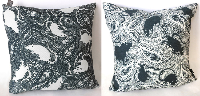 paisley rat pattern cushions in contrasting black and white