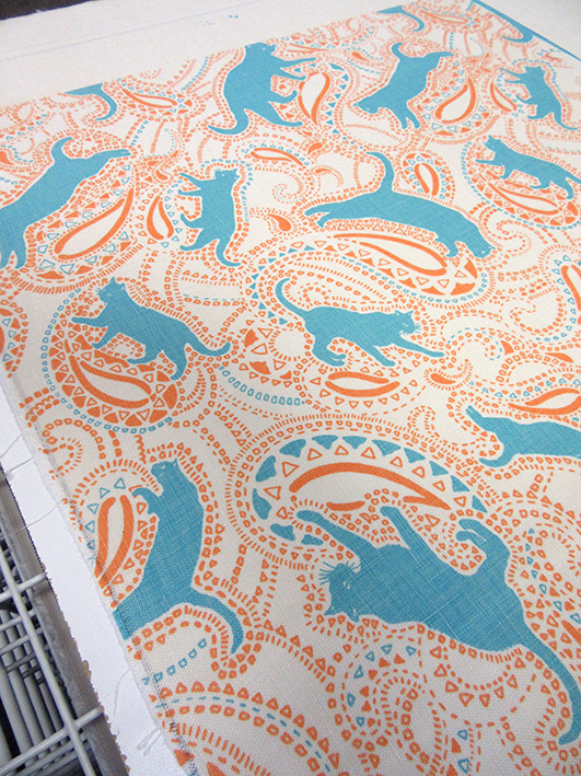 First screen-print of cat pattern