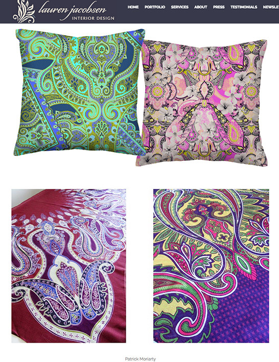 paisley fabrics by Patrick Moriarty featured in Lauren Jacobsen Design Blog