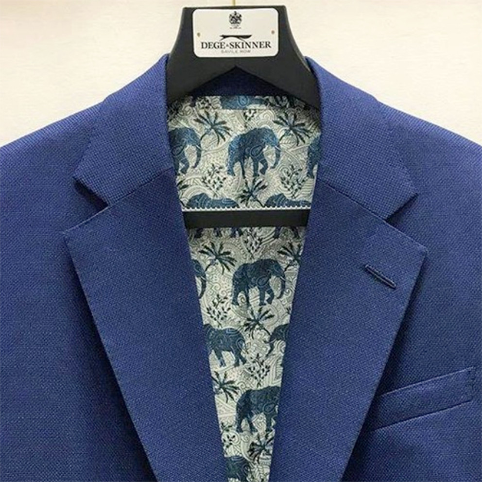 paisley elephant printed lining fabric designed by Patrick Moriarty for Bernstein and Banleys