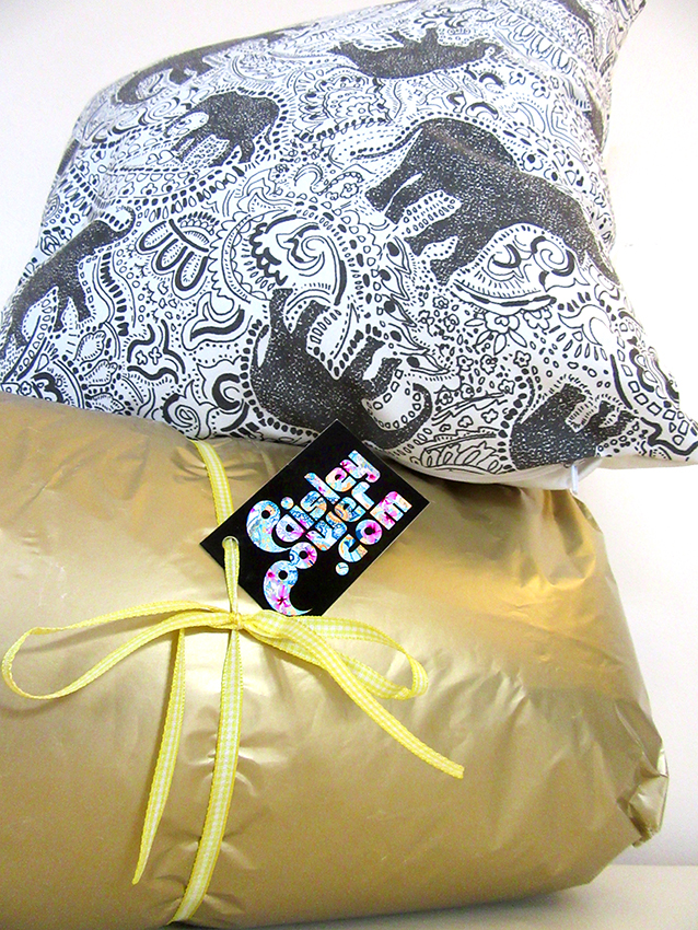 elephant cushion pillow designed by Paisley Power + gift wrap .jpg