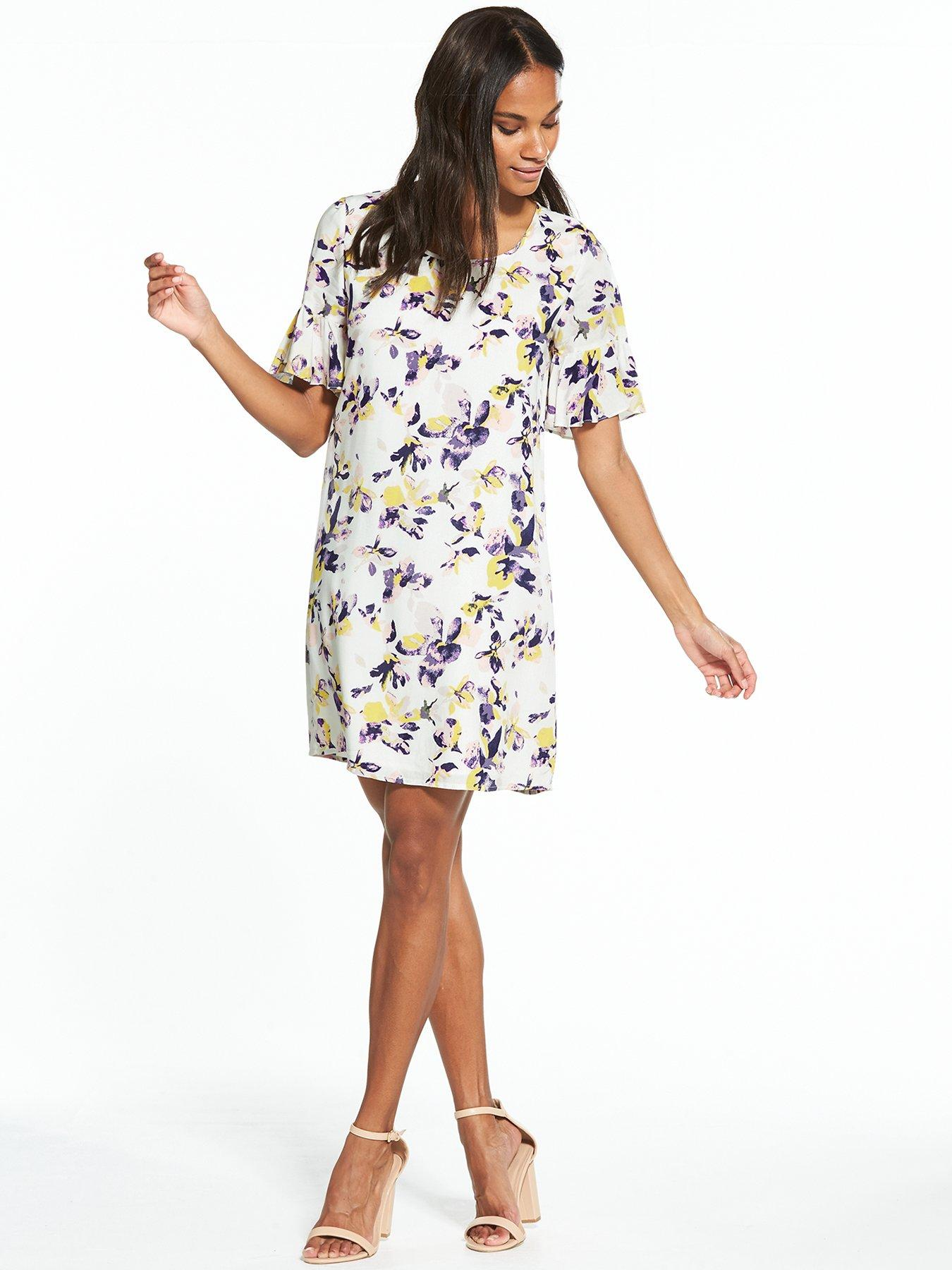 VILA-yellow-dress-with-floral-painted-print-by-Patrick-Moriarty