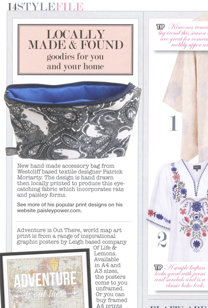 magazine article of Paisley Power rat bag