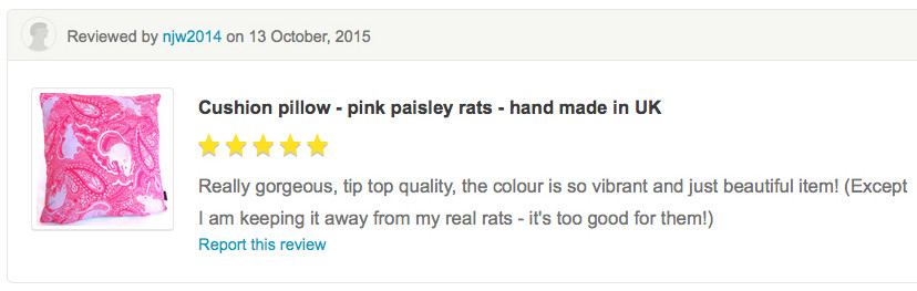 customer review of paisley rat patterned cushion