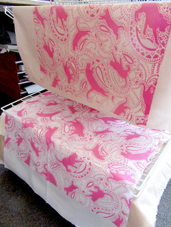 paisley-cat-pattern fabric-design-pink- by Patrick Moriarty