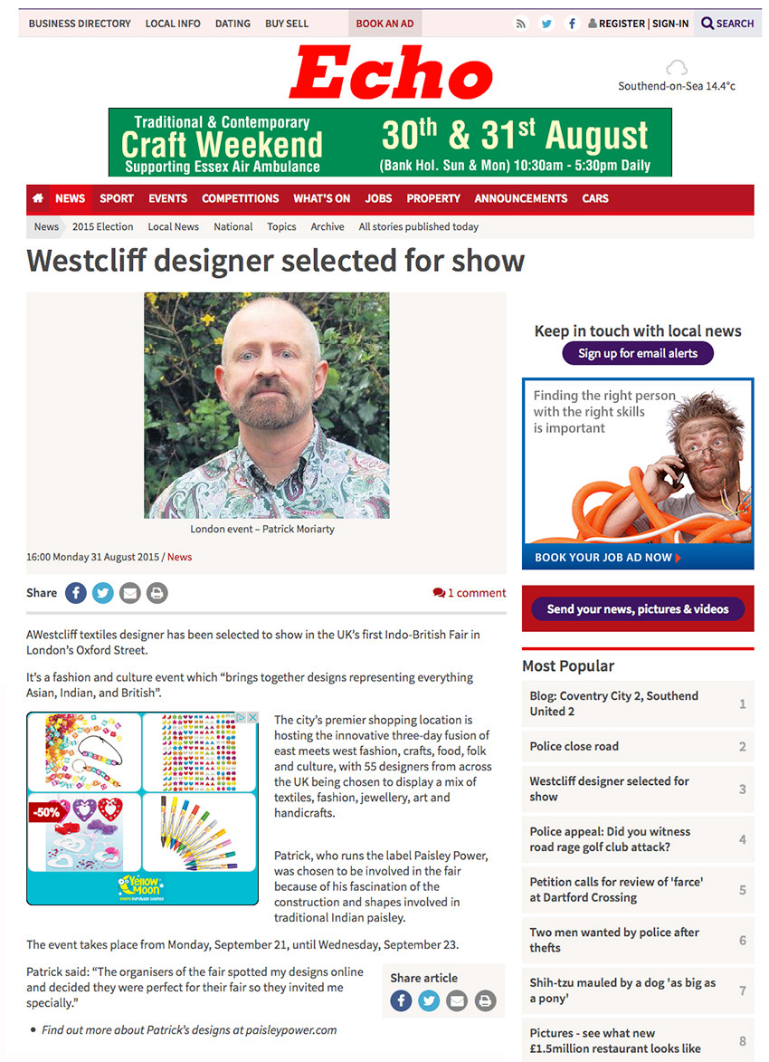 article and photo of textile designer Patrick moriarty in Echo newspaper