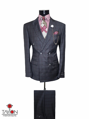 Tayion Collection Suits - QUENTIN (Gray Mini Check)