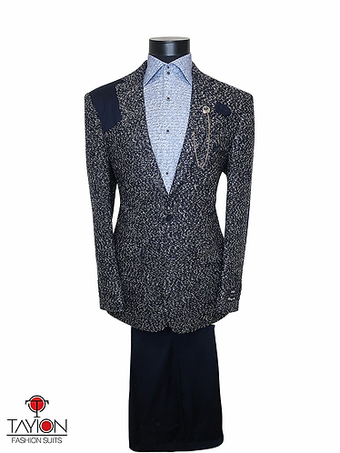 Tayion Collection Suits - CADDY (Blue Tweed)