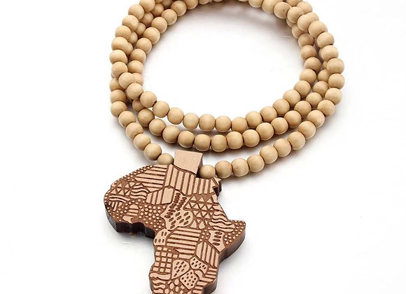 Africa Continent Map Beaded Wood Necklace