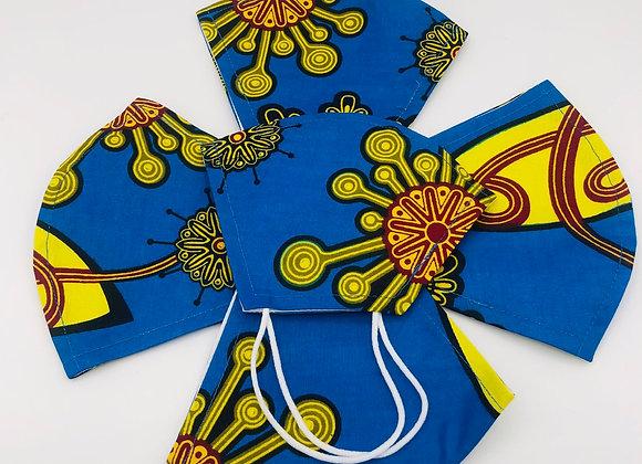 2 Reusable African Blue Royalty Print Face Masks