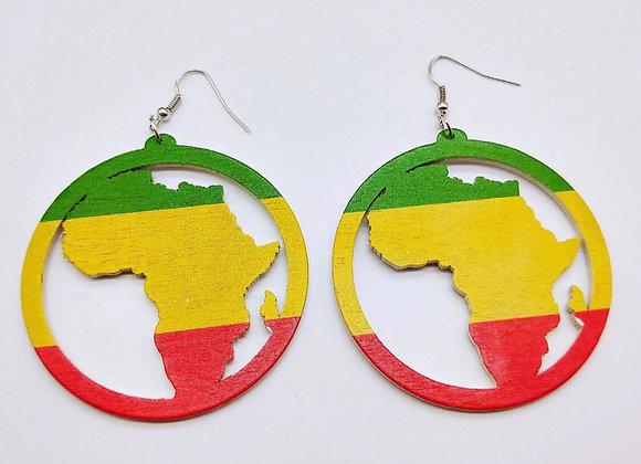 Rasta Colors Africa Map Earrings
