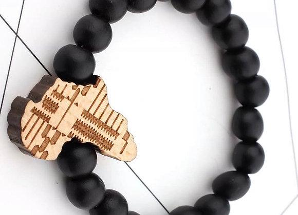 Africa Map Beaded Wood Meditation Bracelet