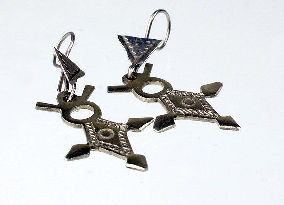 Cross Of Agadez Tuareg Silver Earrings