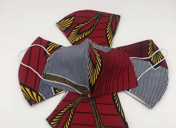 2 Reusable African Royal Red Print Face Masks