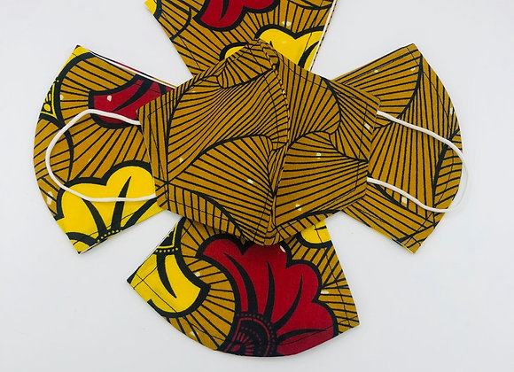 2 Reusable African Gold/Red Print Face Masks