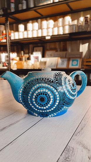 Birrang 'Blue Sky' Aboriginal Hand Painted Teapot