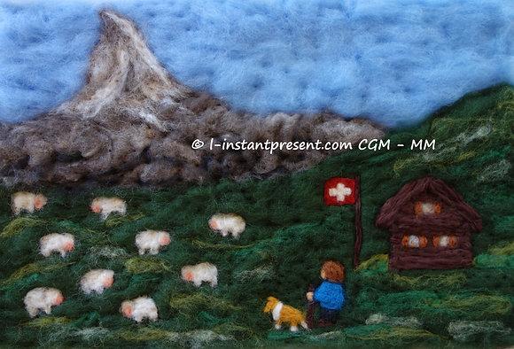 Travail au troupeau dans les montagnes suisses