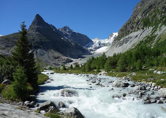 Carte rivière & glacier du Mont Miné