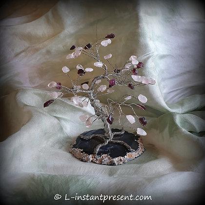 Arbre en quartz rose et rubellite