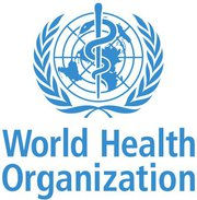 """World Health Organization logo. A crude map of the world in blue is behind a staff with a serpent wrapped around it, encased in a white wreath. Below, blue text reads """"World Health Organization""""."""