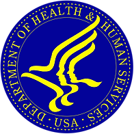 """The US Department of Health and Human Services logo. It's a blue circle surrounding yellow squiggly lines that combine to form two human faces in profile and a flying bird. Yellow text circles the outer portion of the circle, reading from lower right around to the bottom: """"Department of Health & Human Services USA""""."""
