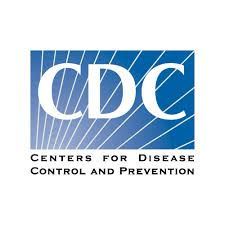 """CDC Logo. A blue box with lighter blue lines in varying diagonals behind white letters """"CDC"""". Below in black type is """"Centers for Disease"""" followed by black type """"Control and Prevention."""""""