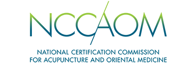 """Logo for the National Certification Commission for Acupuncture and Oriental Medicine (NCCAOM). """"NCCAOM"""" is at the top in green text that fades to blue, above the words """"National Certification Commission for Acupuncture and Oriental Medicine"""" in blue."""