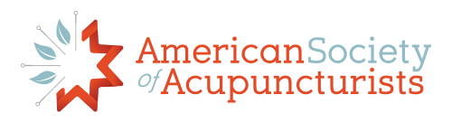 """Logo for the American Society of Acupuncturists. The words """"American"""" and """"Acupuncturists"""" are in red text, while the words """"Society"""" and """"Of"""" are in blue text. To the left is an eight-pointed star, the right half in red and the left half made up of three blue leaves and four acupuncture needles."""