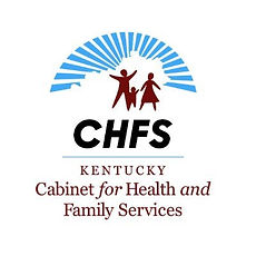 """Kentucky Cabinet for Health and Family Services logo. At the top, the sky is represented by a series of thick blue lines that are spaced into a semi-circle behind a void shaped like the state of Kentucky. Below that, dark red people are standing: an adult to the left with arms raised, a small child in the middle reaching up with the right hand toward an adult in a skirt with both arms slightly away from the sides of their skirt. Below that, black text reads CHFS, with a light blue line under it. Below that line, dark red text reads """"Kentucky Cabinet for Health and Family Services."""""""