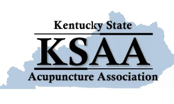 """The Kentucky State Acupuncture Association logo. Black ext reads, from top to bottom, """"Kentucky State"""", followed by an acupuncture needle pointing to the left, followed by """"KSAA"""", followed by an acupuncture needle pointing to the right, followed by the words """"Acupuncture Association."""" In the background is the shape of the state of Kentucky in light blue."""