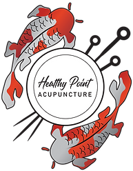 Healthy Point Acupuncture logo: two koi fishm one predominantly gray with orange spots and one predominantly orange with gray spots, swim around two concentric circles surrounding the words Healthy Point in script and Acupuncture in print. Three acupuncture needles pierce the two concentric circles from the upper right to lower left.