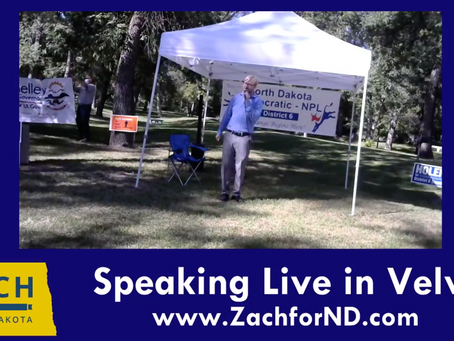 Zach Rakernud speaks in Velva