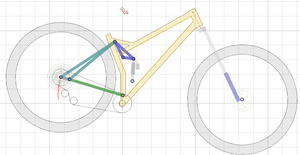 """29"""" Full Suspension Mountain Bike - Linkage layout at full compression"""