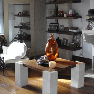 Table basse pierre et bois