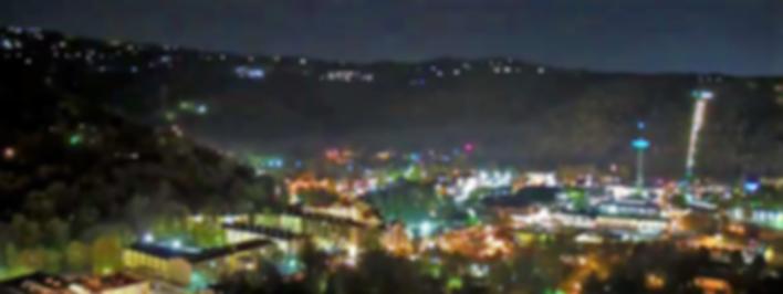View of Gatinburg from above at night, city lights of Gatlinburg