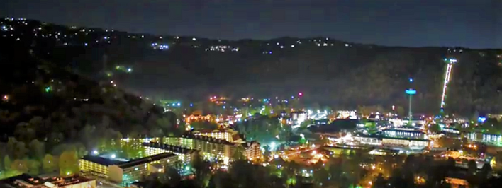 View of Gatinburg from above at night, city lights of Gatlinburg