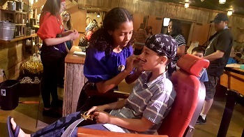 Pirate Voyage Dinner Show, my nephew getting his face painting