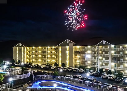 Whispering Pines Pigeon Forge with fireworks