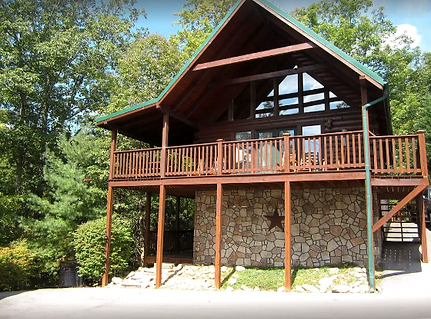Cheap Affordable cabin in Gatlinburg called Prime Time, front exterior view