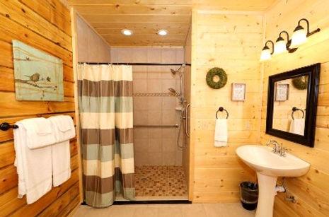 Roll in shower in cabin bathroom for handicap access