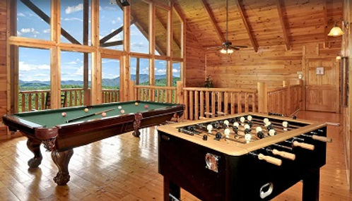 Cabin with elevator in Gatlinburg and Pigeon Forge Magical Moose Vrbo, Gameroom view