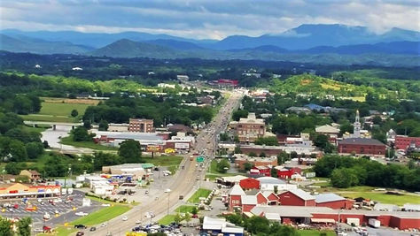 Overlooking Downtown Sevierville from above